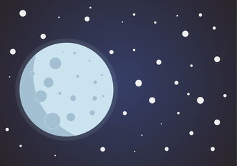 One full moon in space with stars, styling simplify space exploration illustration background in flat style