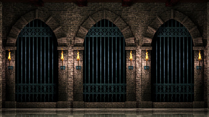 Arches with iron railings and torches