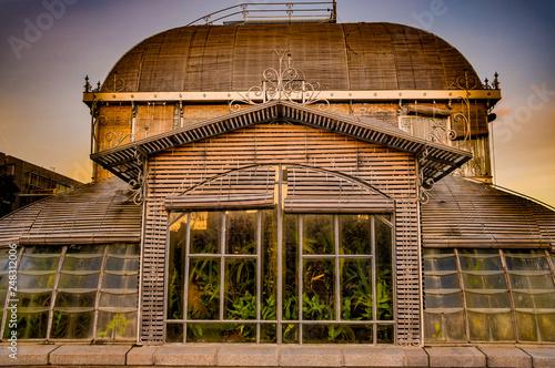 Serre du jardin des plantes Nantes couchée de soleil = green ...