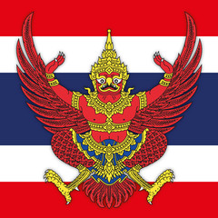 Kingdom of Thailand coat of arms and national flag