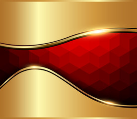 Abstract background red mosaic with vector cube texture.