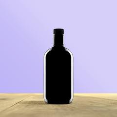 black bottle with blue background