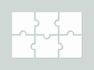 Six blank puzzle pieces. Puzzle for web, information or presentation design, infographics. White puzzle on gray background. Vector illustration
