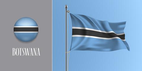 Botswana waving flag on flagpole and round icon vector illustration