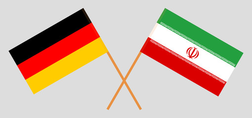 Iran and Germany. The Iranian and German flags. Official colors. Correct proportion. Vector