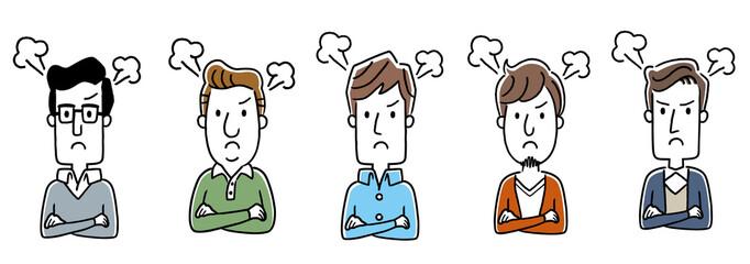 複数の男性:怒り、怒る