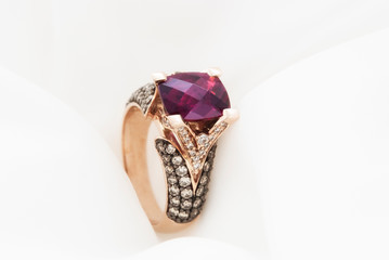 Rose Gold Ring With Rhodolite Garnet And Diamonds