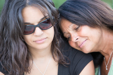Sad Adult Woman Daughter with Mother