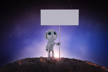 robot with blank banner
