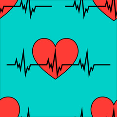 Cardiology heartbeat rhythm ecg seamless icon pattern..Eps vector illustration
