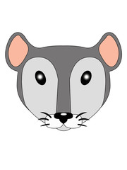 Little mouse. Cute little face little mouse. Rat head illustration for children. A pretty little gray and white colored rat. Muzzle toy mouse with cute ears.