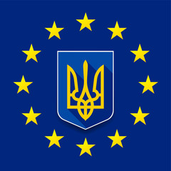 Europe & Ukraine union sign illustration concept