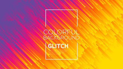 Modern glitch effect. Digital vector minimalistic style. Vivid color striped abstract background. Template for your design, cover, flyer, book, brochure. Dynamic flow lines conceptual illustration.