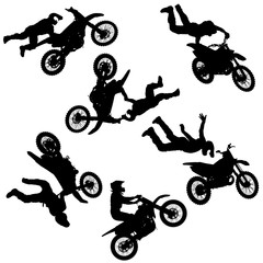 Set silhouette of motorcycle rider performing trick on white background