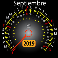 2019 year calendar speedometer car in Spanish September