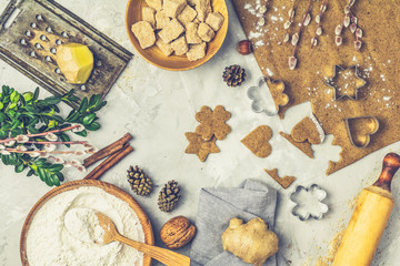 Culinary Spring or Christmas food background. Ingredients for ginger cookies