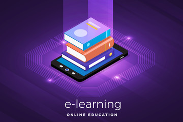 isometric e-learning concept