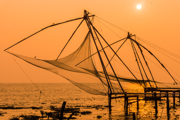Chinesische Fischernetze, Kochi (Chochin)/Kerala, Indien