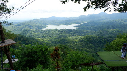 natural mountain scenery with lake view below