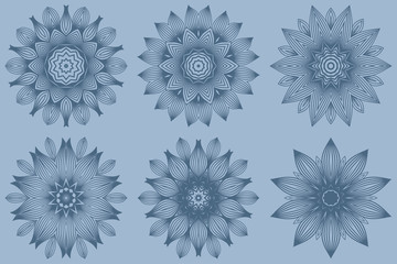 Set of Vector Round Abstract Mandala Style Decorative Element. Hand-Drawn Vector Illustration. Can Be Used For Textile, Greeting Card, Coloring Book, Phone Case Print. Pastel blue color