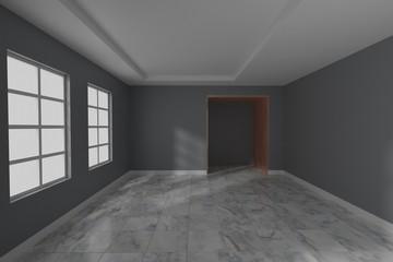 Empty room interior design 3d rendering