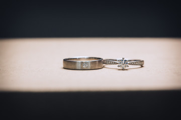 wedding ring for bride and groom on wedding day. Couple ring.beautiful wedding rings with diamonds.