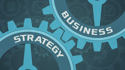closeup view of two cogwheels with the words: business and strategy, other cogwheels on background with business themed icons, 2d flat style
