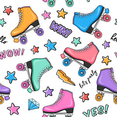 Fashion seamless pattern with retro colorful roller skates, stars, flashes, diamonds and typography