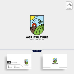 agriculture eco green line art logo template icon element