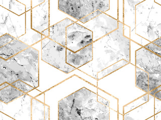 Seamless geometric pattern with gold glitter lines and marble polygons