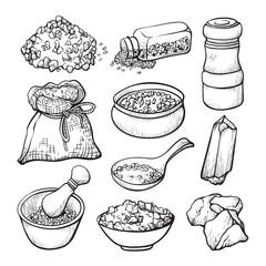 Food salt sketch, natural seasoning and cooking ingredient