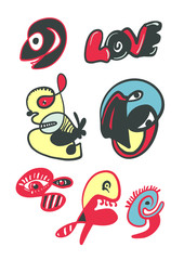 Funny doodle characters