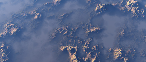 Aerial of rough rocky terrain in mist. Wall mural