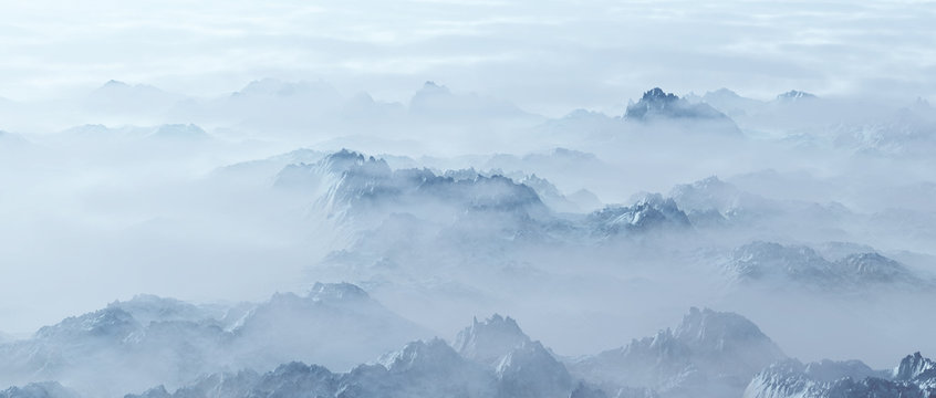 Aerial of rough steep snowy mountains in fog.