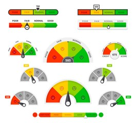 Fototapeta Scoring indicators. Goods gauge speedometers, rating meter indicators. Credit score manometers, loan history graphs. Vector illustration set