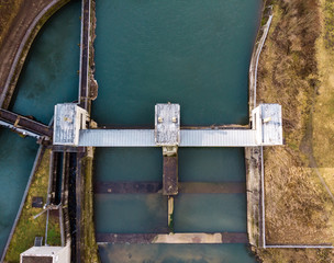 Aerial view of a water dam