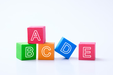 ABC alphabet cubes isolated on white background for kindergarten education concept