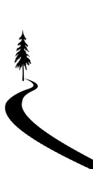 Road silhouette drawn on a white colored background with a tree at the starting point.