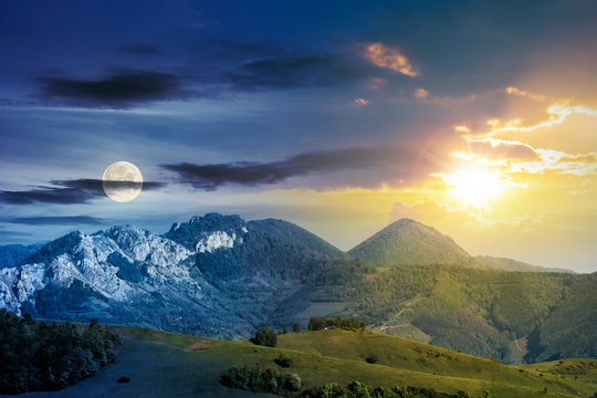 day and night time change concept above mountains with rocky formations. grassy meadows, forested hills and huge cliffs. wonderful nature scenery. beautiful weather in springtime with sun and moon