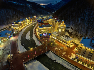 Olympic village Roza Khutor. Aerial view. Night lights