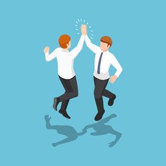 Isometric two businessmen jumping and giving high five in the air