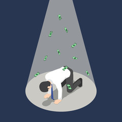 Isometric depressed businessman kneeling under the spotlight with money banknote