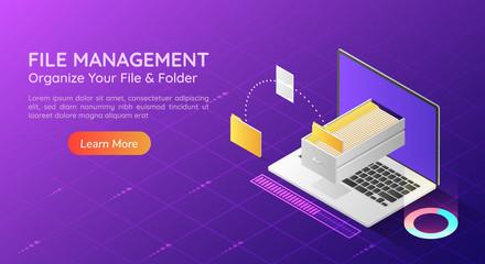 Fototapeta Isometric web banner laptop transfer file and organize folder in the monitor