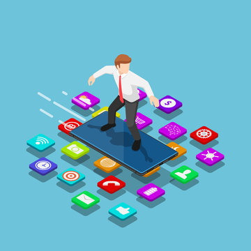 Isometric businessman use smartphone to surfing on the mobile application