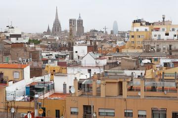 Rooftops of immigrant neighbourhood of Raval, Barcelona, Spain