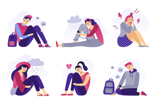Depressed teenagers. Sadness student, unhappy stressed teen sad boy and crying girl. School stress isolated flat vector illustration