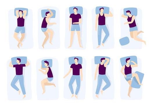 Man sleeping poses. Night sleep pose, asleep male positioning on bed and sleep position isolated vector illustration