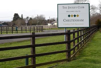 A welcome sign at Cheltenham Racecourse, Cheltenham, Gloucestershire