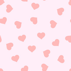 Seamless pink background with hearts. Cover. Love. Vector illustration.