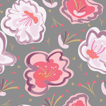 Large cherry blossoms in a bold color palette create a dynamic seamless pattern design. Repeat vector design, great for fashion, textiles, home decor, wallpaper, and stationery items.